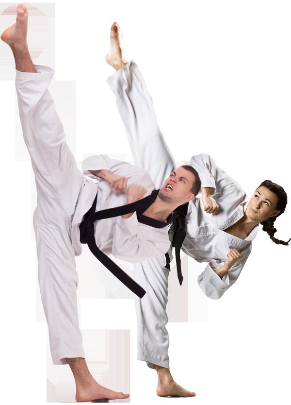 man and woman high kick